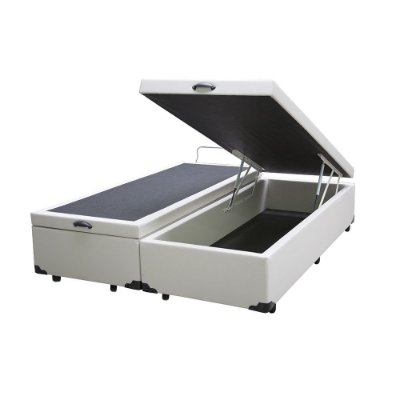 Cama Box Baú Casal Bipartido Corino Branco - 138x188x40
