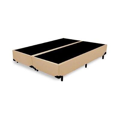 Base Cama Box Casal Bipartido Corino Bege - 138x188X39