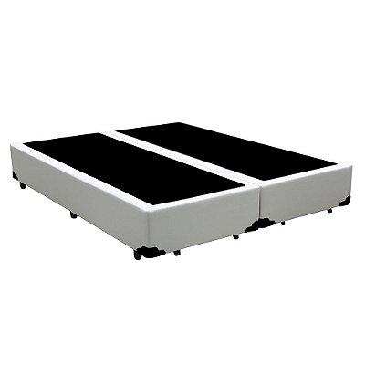 Base Cama Box Casal Bipartido Corino Branca - 138x188X39