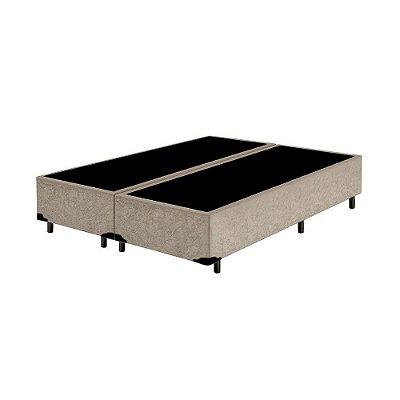 Base Cama Box Casal Bipartido Suede Bege - 138x188X39