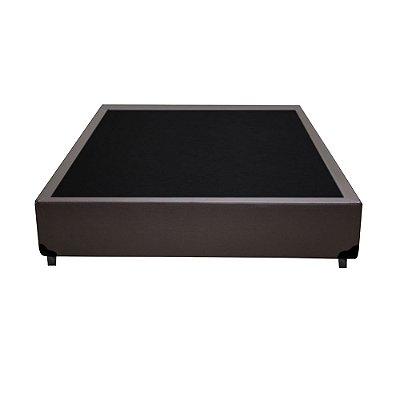 Base Cama Box Casal Sintético Marrom - 138x188x39