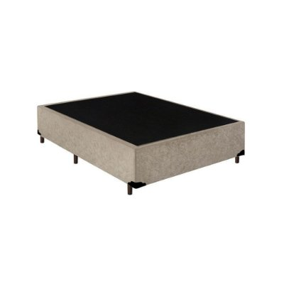 Base Cama Box Casal Suede Bege - 138x188x39
