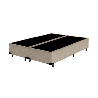 Base Cama Box King Bipartido Suede Bege - 193x203X39