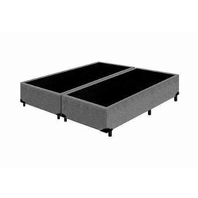 Base Cama Box King Bipartido Suede Cinza - 193x203X39