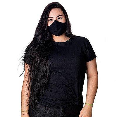 Combo camiseta e máscara anti odor preta unissex 100% algodão