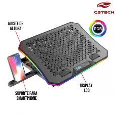 Base para Notebook Gamer Refrigerada até 17.3 Polegadas com LED RGB Suporte Smartphone NBC-600BK C3 Tech