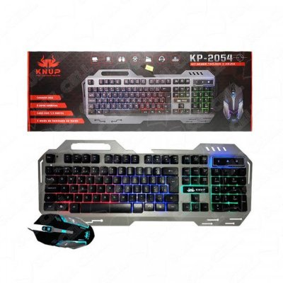 Teclado e Mouse Gamer USB Led RGB Luminoso (KP-2054)