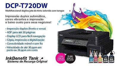 Impressora Brother Multifuncional Tanque de Tinta (DCPT720DW) InkBenefit Colorida Duplex 110v