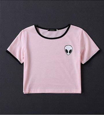 Camiseta Cropped Alien - Rosa