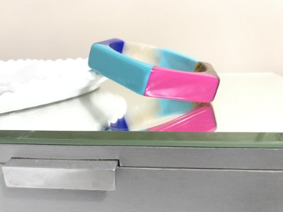 Bracelete Resina Hexágono/Colorido