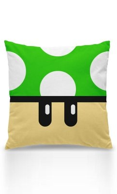 Almofada Gamer Cogumelo Verde 1 Up  Presentes Criativos