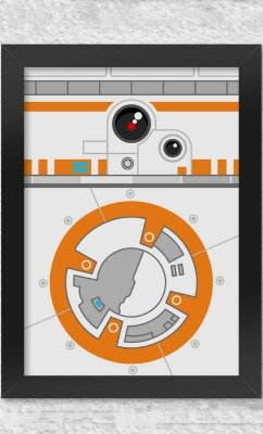 Poster com Moldura  Star Wars Side Faces - BB8  Presentes Criativos
