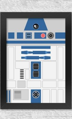 Poster com Moldura Star Wars  Faces - R2D2  Presentes Criativos