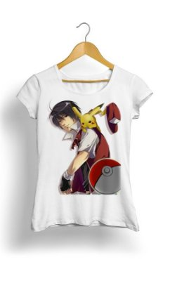 Camiseta Pokemon Pikachu e Ash Together