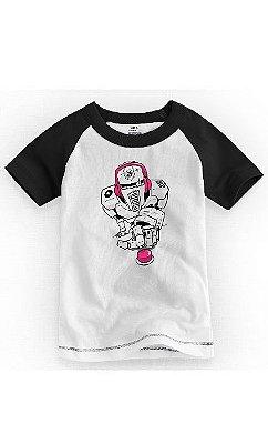 Camiseta Infantil Robô Pink