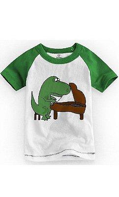 Camiseta Infantil Dinossauro Piano