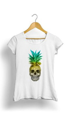 Camiseta Feminina Tropicalli Pineapple Skull Colors