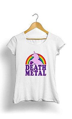 Camiseta Feminina Tropicalli Death Metal Unicorn