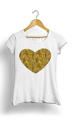 Camiseta Feminina Tropicalli Gold Bling Heart