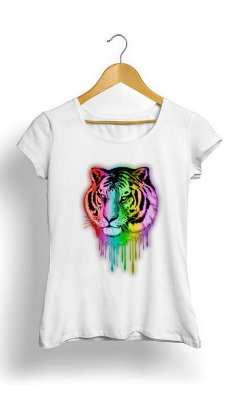 Camiseta Feminina Tropicalli Tiger Neon Dripping Rainbow Colors