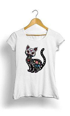 Camiseta Feminina Tropicalli Dia de los Gatos