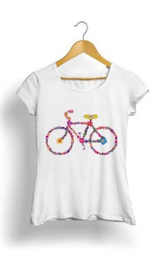 Camiseta Feminina Tropicalli Bike flourish