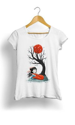 Camiseta Feminina Tropicalli Girl and a Fox