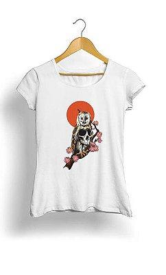 Camiseta Feminina Tropicalli Skull Owl