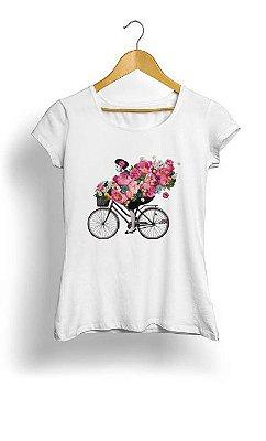 Camiseta Feminina Tropicalli floral bicycle