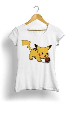 Camiseta Feminina Tropicalli Pikachu the clan