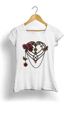 Camiseta Feminina Tropicalli Steampunk Heart