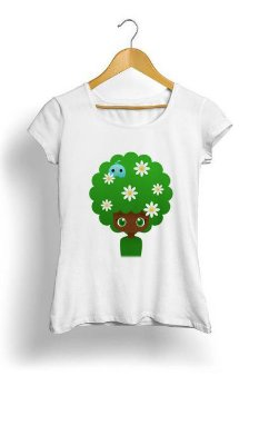 Camiseta Feminina Tropicalli Blooming afro girl