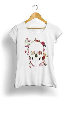 Camiseta Feminina Tropicalli Skull Grunge Flower