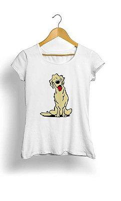 Camiseta Feminina Tropicalli Cartoon golden retriever dog