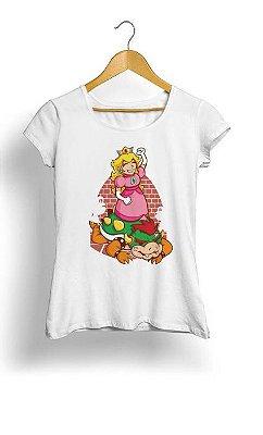 Camiseta Feminina Tropicalli Princesa e Bowser