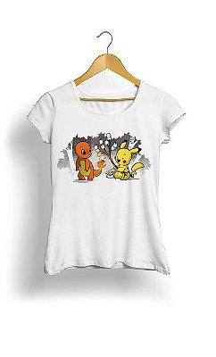 Camiseta Feminina Tropicalli Pikachu e dragão