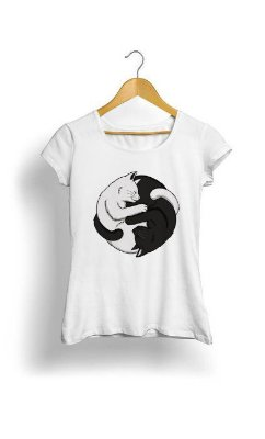 Camiseta Feminina Tropicalli Yin Yang Cats