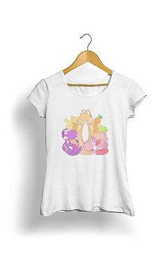 Camiseta Feminina Tropicalli Colorful dinosaurs