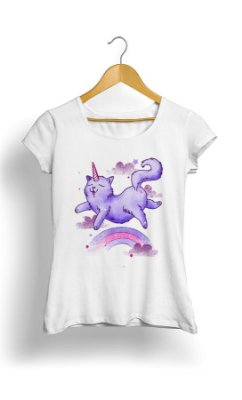 Camiseta Feminina Cat Unicorn