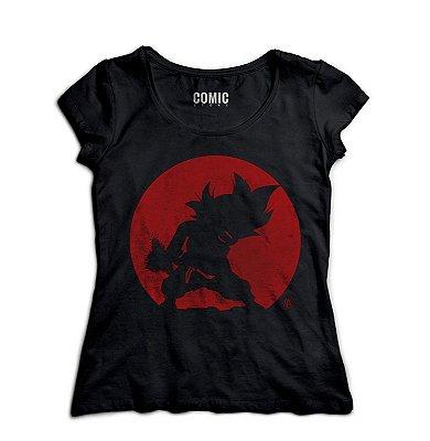 Camiseta Feminina Dragon Ball Goku Kamehameha