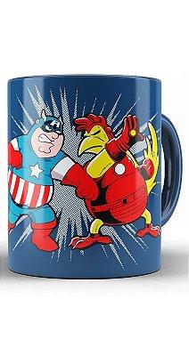 Caneca Capitão America Vs Homem de Ferro Galinha