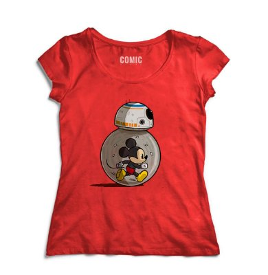 Camiseta Feminina  Star Wars BB-8 Mickey
