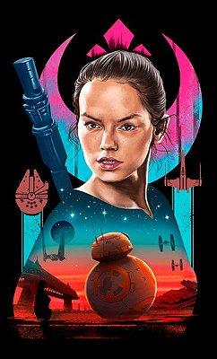 Camiseta Star Wars O Despertar da Força- Rey e BB-8