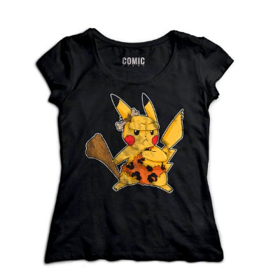 Camiseta Feminina  Pikachu Flintstone