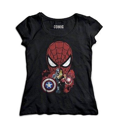 Camiseta Feminina  Homem Aranha e Capitão America - Homem de Ferro
