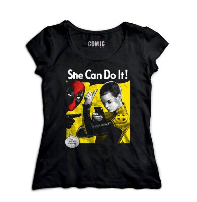 Camiseta Feminina  Deadpool - She Can Do It
