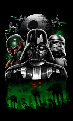 Camiseta Star Wars - Boba, Darth Vader, Stormtrooper