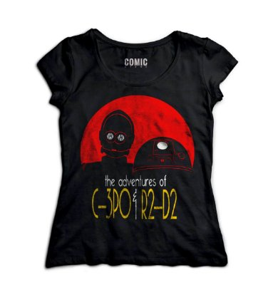 Camiseta Feminina C-3PO e R2-D2