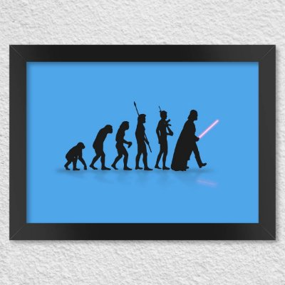 Poster com Moldura Geek Evolution - Azul Presentes Criativos