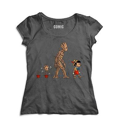 Camiseta Feminina Guardiões da Galáxia e Pinoquio